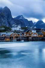 Preview iPhone wallpaper Norway, Lofoten Islands, houses, sea
