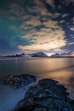Preview iPhone wallpaper Norway, Lofoten Islands, sea, stones, stars, sky