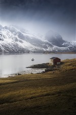 Preview iPhone wallpaper Norway, Marka, Nordland, sea, house, mountains, snow