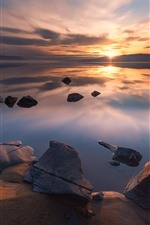 Norway, Tyrifjorden, lake, rocks, sunset