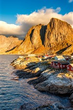 Norway, houses, village, mountains, lake, clouds