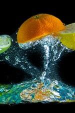 Preview iPhone wallpaper Orange and lemon slice, water splash