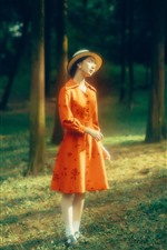 Orange skirt girl, forest, sunshine, hazy