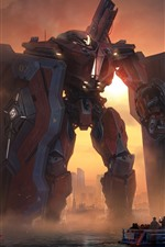 Preview iPhone wallpaper Pacific Rim, robot, sea, ship