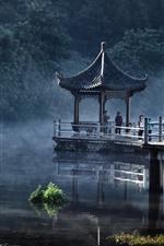 Preview iPhone wallpaper Park, lake, gazebo, fog