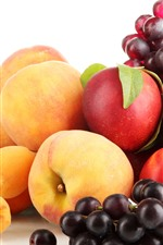 Preview iPhone wallpaper Peaches, grapes, fruit