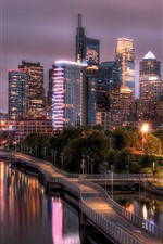 Philadelphia, Schuylkill river, road, skyscrapers, lights, night, USA