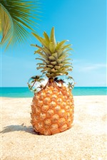 Preview iPhone wallpaper Pineapple, sunglasses, beach, palm trees, sea
