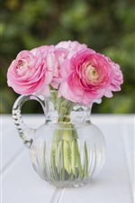 Preview iPhone wallpaper Pink peonies, flowers, glass vase