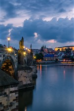 Preview iPhone wallpaper Prague, Czech Republic, night, river, lights, clouds, city