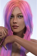 Garota de fantasia de cabelo roxo, sexy