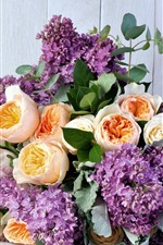 Purple lilac and yellow roses, bouquet