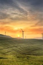 Qinyuan, склон, ветряные мельницы, восход солнца, утро, Китай