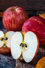 Preview iPhone wallpaper Red apples, half, fruit, bag