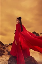 Preview iPhone wallpaper Red dress girl look back, retro style