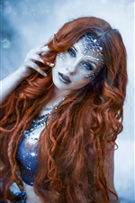 Preview iPhone wallpaper Red hair girl, mermaid