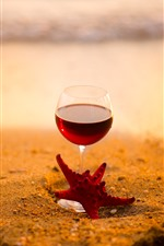 iPhone обои Красное вино, стаканчик, морская звезда, пляж, море