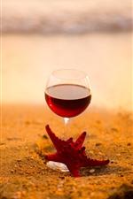 Red wine, glass cup, starfish, beach, sea