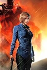 Preview iPhone wallpaper Resident Evil 3: Nemesis, girl, gun, rain