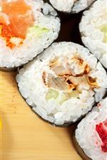 Preview iPhone wallpaper Rice rolls, sushi, lemon slice