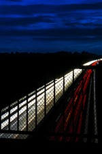 Preview iPhone wallpaper Road, highway, fence, light lines, night