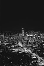 Preview iPhone wallpaper San Francisco, USA, city night, lights, black and white picture