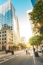 San Francisco, USA, city, road, street, buildings, cars, people