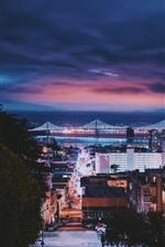Preview iPhone wallpaper San Francisco, city, night, bridge, buildings, cars, illumination, USA