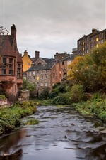 Preview iPhone wallpaper Scotland, Dean Village, river, house, dusk, lights