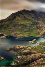 Preview iPhone wallpaper Scotland, Isle of Skye, mountains, sea, top view