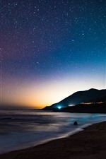 Preview iPhone wallpaper Sea, coast, starry, sky, night