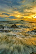 Preview iPhone wallpaper Sea, water stream, clouds, sunset