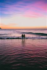 海、水面、恋人、日没