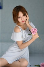 Preview iPhone wallpaper Short hair Asian girl, pose, pink roses