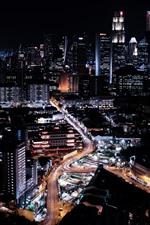 Cingapura, cidade à noite, edifícios, estradas, luzes