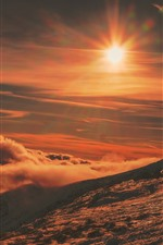 Preview iPhone wallpaper Slope, mountain, sun, sunshine, snow, clouds, winter