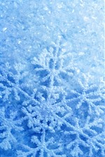 Preview iPhone wallpaper Snowflakes, blue, glare