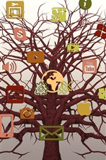Preview iPhone wallpaper Social networking logos, tree, creative