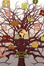 Social networking logos, tree, creative