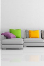 Preview iPhone wallpaper Sofa, pillow, gray style