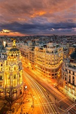Preview iPhone wallpaper Spain, Madrid, Europe, city at night, roads, buildings, lights