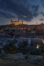 Aperçu iPhone fond d'écranEspagne, Toledo, ville, pont, rivière, nuit, lumières