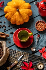 Preview iPhone wallpaper Still life, pumpkin, coffee beans, cups, knife, red leaves