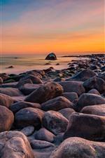 Stones, sea, Norway, sunset