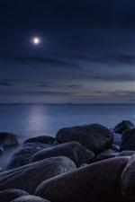 Aperçu iPhone fond d'écranPierres, mer, lune, nuit
