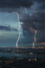 Preview iPhone wallpaper Storm, lightning, city, night