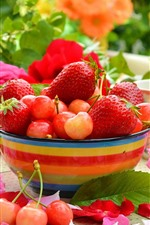 Preview iPhone wallpaper Strawberry and cherry, delicious fruit, roses, bowl