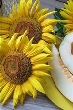 Preview iPhone wallpaper Sunflowers, melon, plum