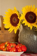 Preview iPhone wallpaper Sunflowers, tomato, bread, still life