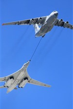 Preview iPhone wallpaper Swan Bomber, Tu-160 plane, air refueling